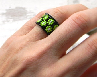 Wide beaded ring Wide seed bead ring Wide band ring Beaded jewelry Seed bead jewelry Women ring Wide peyote ring Unusual  bead woven ring