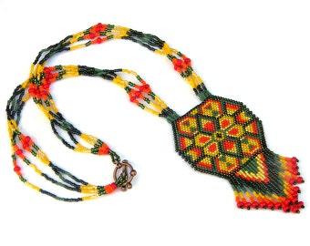 SALE ! Colorful beaded necklace Boho ethnic necklace Seed bead necklace Bead woven necklace Peyote pendant Seed bead jewelry Beaded jewelry