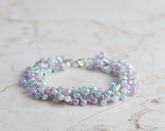 Pink, Blue and Green Beaded Bracelet