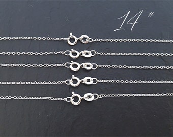 "Bulk Sterling Silver Chain, Wholesale Chain, Finished Sterling Silver Chain, Necklace Chains, 14"" Chain"
