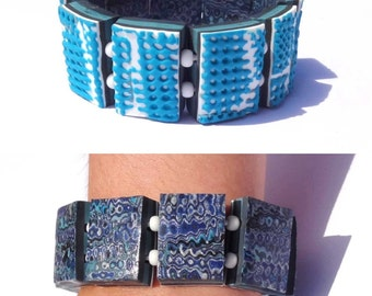 "Bracelet plates reversible ""blue Hiddy"" elastic."
