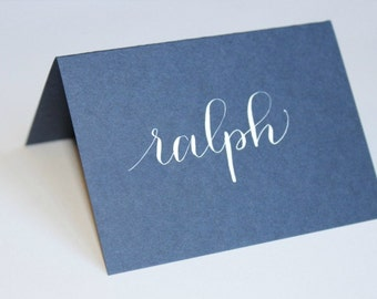 Navy Handwritten Calligraphy Place Cards