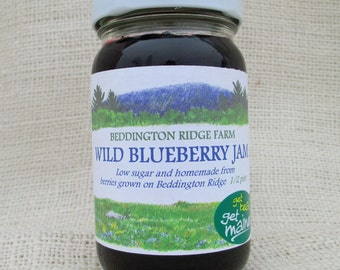 Maine wild blueberry jam/wild blueberry jam/jar of jam/blueberry jam/homemade jam/low sugar jam/berry jam/fruit preserves/delicious jam/jam