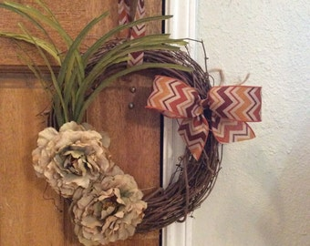 Free S&H on this precious floral fall wreath