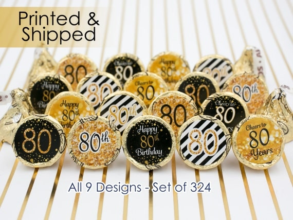 80th birthday party decorations gold  u0026 black stickers for