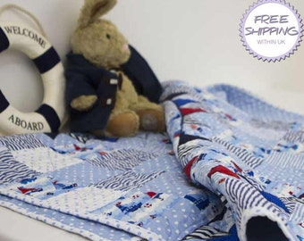 Patchwork Cot Quilt 'Regatta' // Baby Quilt // Baby Gift // Baby Shower // Christening Gift