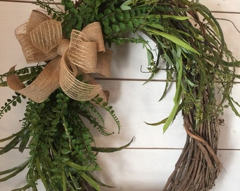 Welcome Y'all, large wreath, rustic wreath, greenery wreath, southern decor, welcome wreath, door wreath, farmhouse wreath, rusyic decor
