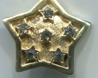 Vintage Gold Toned Star Shaped Button with Rhinestones.