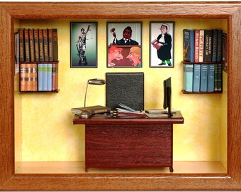 Personalized gift for lawyer, attorney, judge. Miniature custom made lawyer's office.