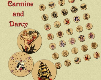 Sailor jerry tattoo art collage sheets! 1 and 2 inch set! bottle caps, cake toppers, retro, printable, digital!