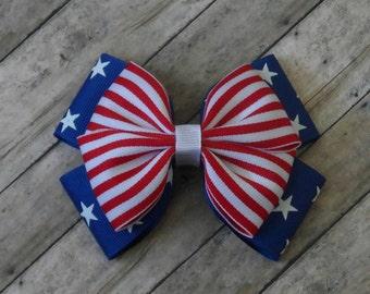 Girls Patriotic Hair Bow