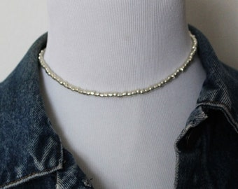 Dainty silver choker, simple silver choker, layering necklace, gift for her, thin silver choker, boho necklace, seed bead choker