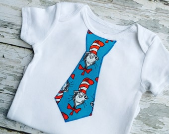 SALE Cat In The Hat Baby Boy Tie Onesie