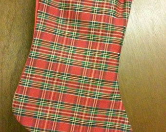 Christmas Stocking Red & Green Plaid