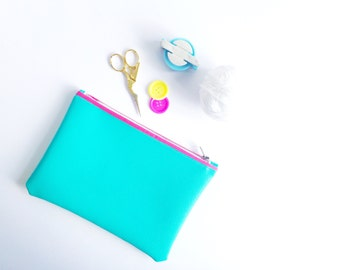 Small Faux Leather Turquoise Pouch