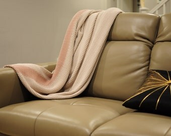 Cotton throw blanket - Marici Collection by Pink Lemonade - Cream/Light Pink