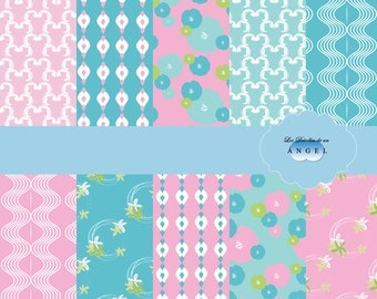 Digital blue and pink paper for scrapbooking or invitations / Blue and pink digital paper for scrapbooking or invitations