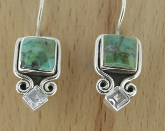 925 Sterling Silver Earrings - Natural Turquoise & CZ Gemstone