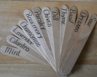 Herb Markers,Herb Garden Markers, Herb Garden Stakes, Hand Lettered, Set Of