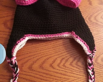 Minnie mouse hat with earflaps