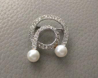 Vintage Marvella Brooch, Rhinestone & Faux Pearl, Signed, Ca. 1950s