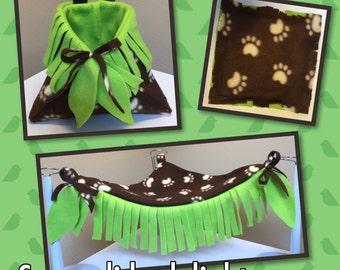 Sugar Glider Cage Set Paw Print Seamless Fleece