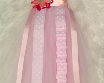 Bow holder with pink & white tulle tutu, hair bows organizer, headbands hanger, bows holder