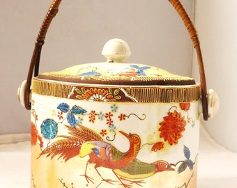 Antique Jar Japanese Ceramic with Wicker handle By Samurai Hand painted Japan
