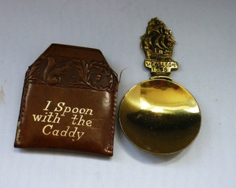 """Galleon 1558 Brass spoon with Leather case """"I spoon with the caddy"""""""