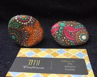 Small decorative rocks - pink/orange/teal/grey - lots of dots