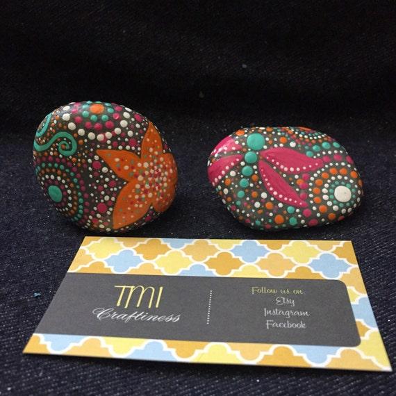Small decorative rocks pink orange teal grey lots of dots for Small decorative rocks