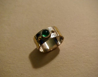 Gold silver and tourmaline ring
