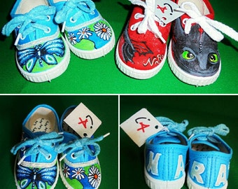 Custom hand painted Kids shoes