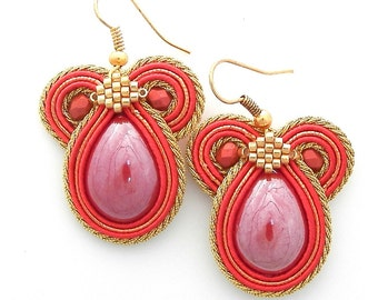 """Earrings jewelry soutache """"Candy"""" reds, Golden Pin, New handmade, bright colors, Fashion Jewelry"""