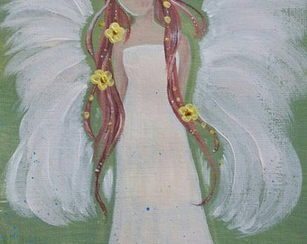 """Angel painting """"The Bringer of Spring"""" - Acrylic painting"""