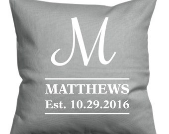 Monogramed Pillow, Wedding Pillow, Name Pillow, Established Pillow, Wedding Gift, Engagement Gift, Shower Gift, Pillow, Custom Pillow