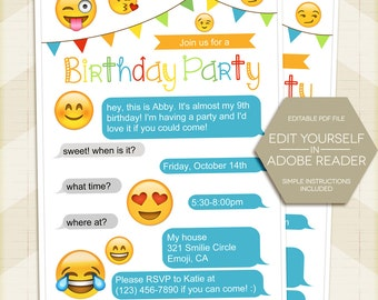 Emoji Birthday Party Invitation, Smilie Invite 5x7 - digital printable editable PDF Edit yourself in Adobe Reader, smiley, for girl