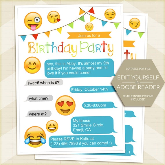 Emoji Printable Sheets Invitations
