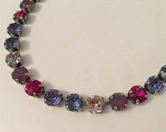 Fuchsia, purple, blue Swarovski Crystal Necklace