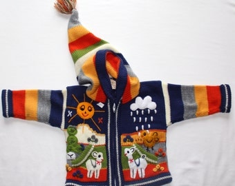 Size 0 Baby Boy Kids Toddlers Handmade Animal Sweater… Ecuadorian Style