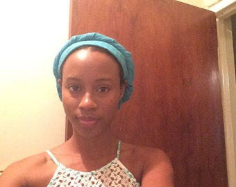 Blue Satin-Lined Headwrap