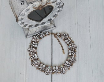 White And Gold Statement Bib Necklace