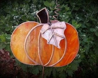 Stained glass pumpkin fall autumn garden art plant stake handmade