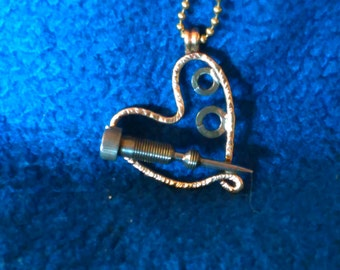 recycled heart necklace
