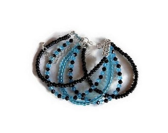Cuff Bracelet glass beads and swarovski turquoise and black