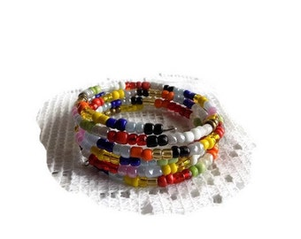 MULTISTRAND bracelet multicolored seed glass beads