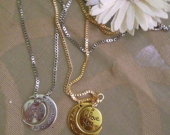 metal necklace with charms Moon and Sun with written i love you to the moon and back