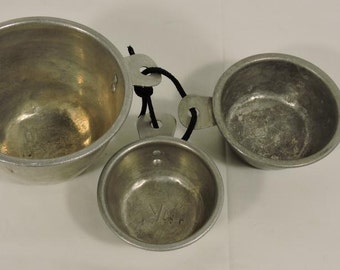 Set of Three Aluminum Measuring Cups Antique