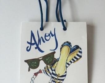 Ahoy Anchor Yacht Sailing Boating Gift Bag Timree Navy Blue 8 x 3 inch