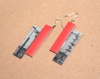 """Paper earrings """"Fraser"""" - Earrings mesh and neon red"""